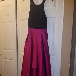 Black and Dark Pink High Low Dress